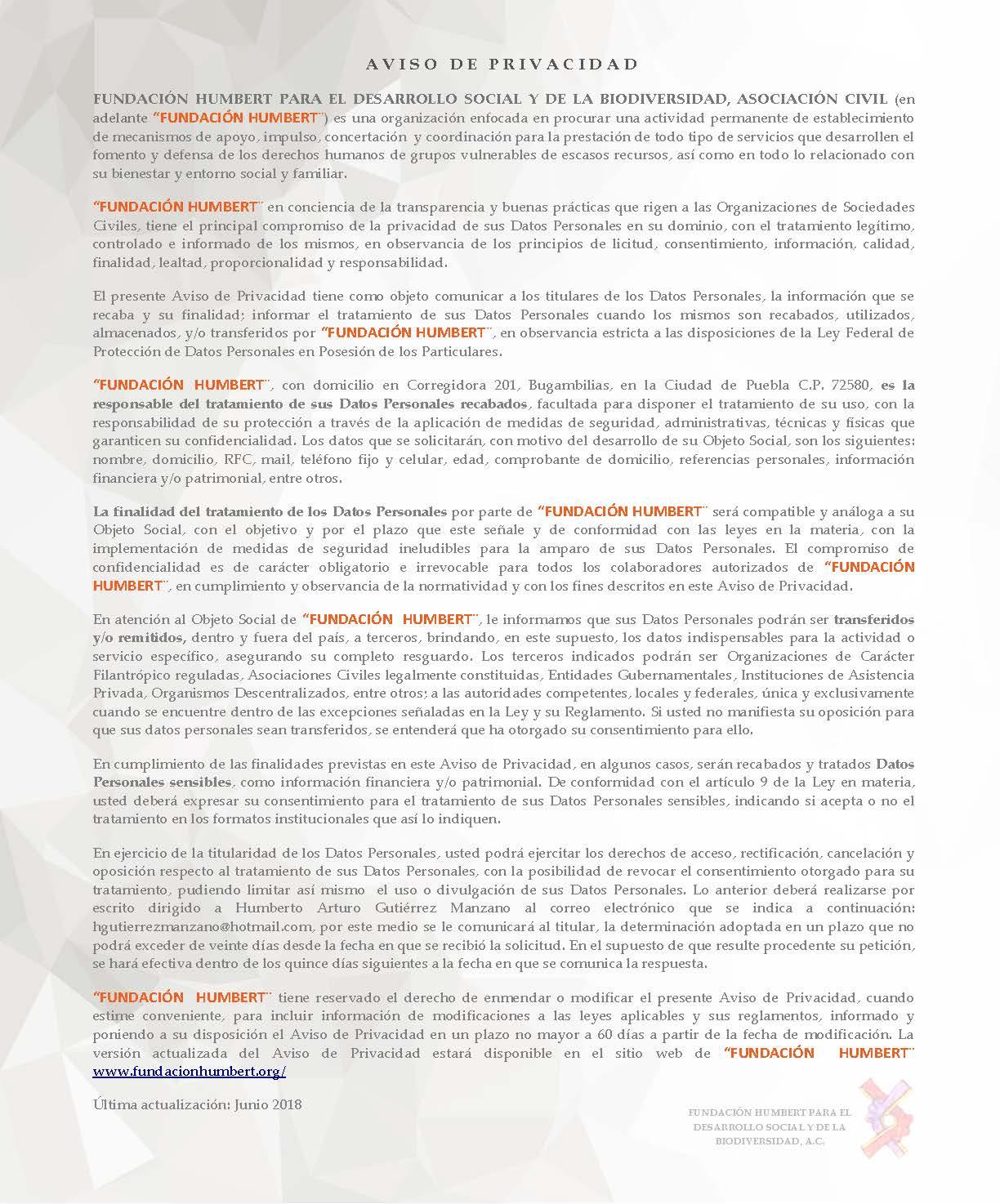 AVISO DE PRIVACIDAD (Página Web)